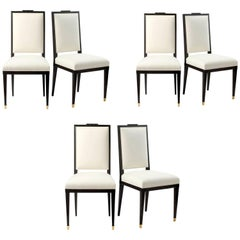 André Mercier, Set of Six Neoclassical Dining Chairs, France, circa 1940
