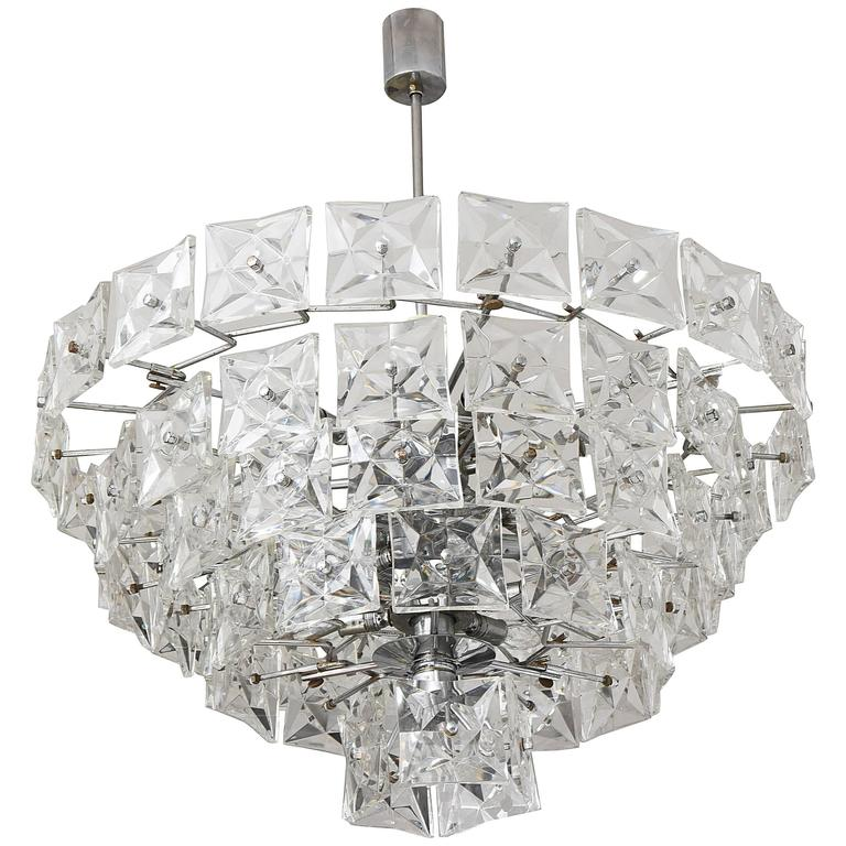 Mid-Century Modern Chandelier, Kinkeldey, Polished Chrome and ...