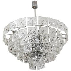 Mid-Century Modern Chandelier, Kinkeldey, Polished Chrome and Molded Crystal