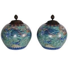 Large Pair of Imari style Vases