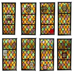 1920s Set of Eight Steel Stained Glass Windows from East 86th St. in Manhattan