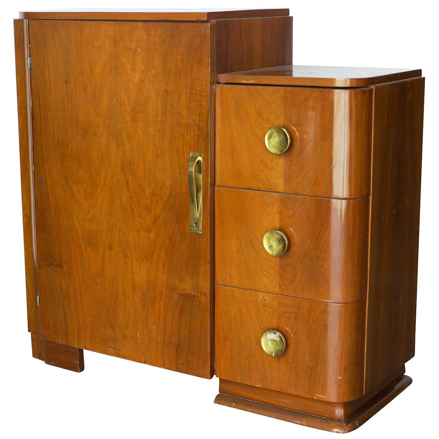 streamline art deco armoire with dresser at 1stdibs. Black Bedroom Furniture Sets. Home Design Ideas