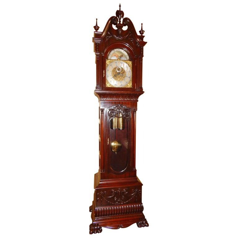 Monumental and Rare Carved Mahogany Grandfather Clock by R. Korfhage
