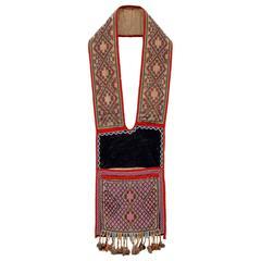 Antique Native American Beaded Bandolier Bag, Chippewa, 19th Century
