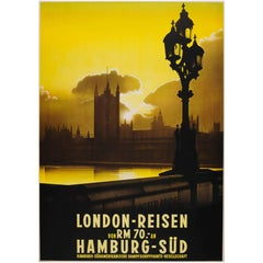 Rare Original Cruise Ship Travel Poster - View over Westminster Bridge in London