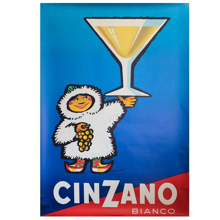 Large Original Vintage 1950s Drink Advertising Poster for Cinzano Vermouth 1