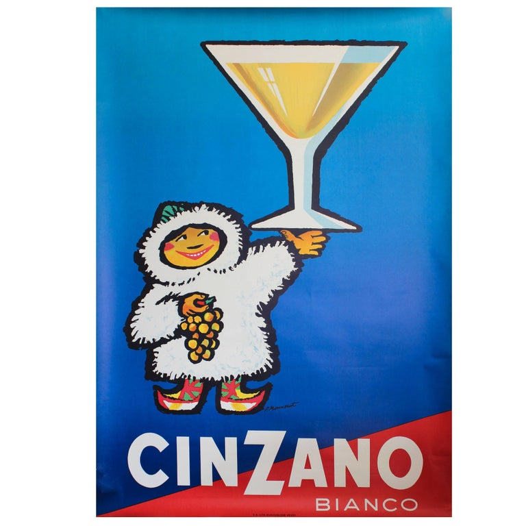 Large Original Vintage 1950s Drink Advertising Poster for Cinzano Vermouth For Sale