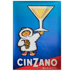 Large Original Vintage 1950s Drink Advertising Poster for Cinzano Vermouth