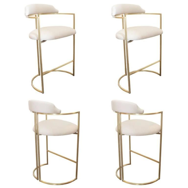 Brass Bar Stools Upholstered In White Leather For Sale At
