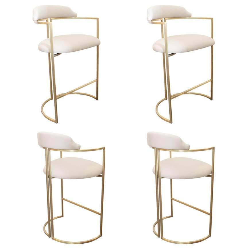 Brass Bar Stools Upholstered In White Leather