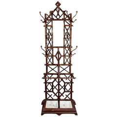 Coat Rack or Hall Tree, 19th Century Regency Patinated Cast Iron Faux Bamboo