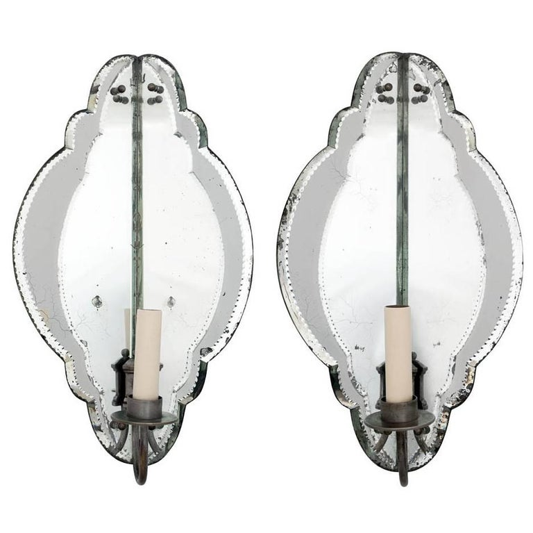 Pair of French Mirrored Corner Sconces with Shaped Glass Panels For Sale