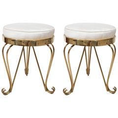 Pair of Petite Round Upholstered Stools