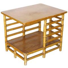 Restored Rattan Floating Ladder Side Table