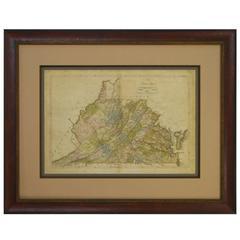 1818 Carey Atlas Correct Hand-Colored Map of Virginia