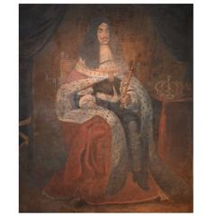 Large 17th Century Naive Oil Painting of Charles II