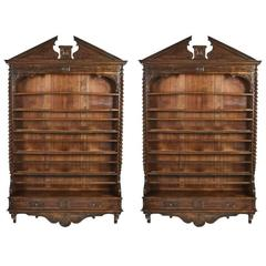Pair of Large 19th Century Carved Walnut Hanging Shelves with Drawers