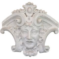Monumental 'Apollo' Garden Cartouche Wall Sculpture or Fountain, One of a Kind