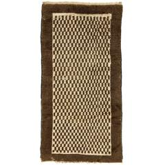 "Chequered ""Tulu"" Rug in Natural Brown and Cream Wool"