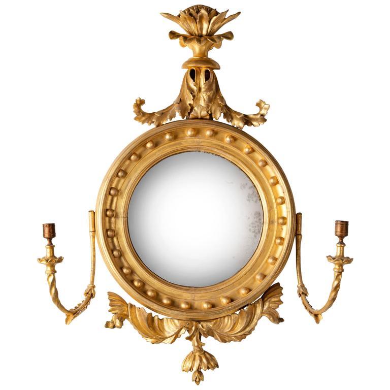 Regency Period Giltwood Convex Mirror For Sale