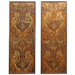 Pair of Embossed Leather Panels with Flowers and Wood Frames