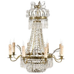 Petite Swedish Chandelier with Six Lights, circa 1850