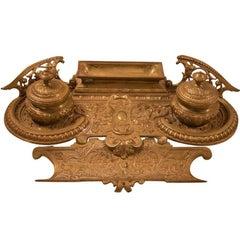 19th century Embossed Bronze Inkwell