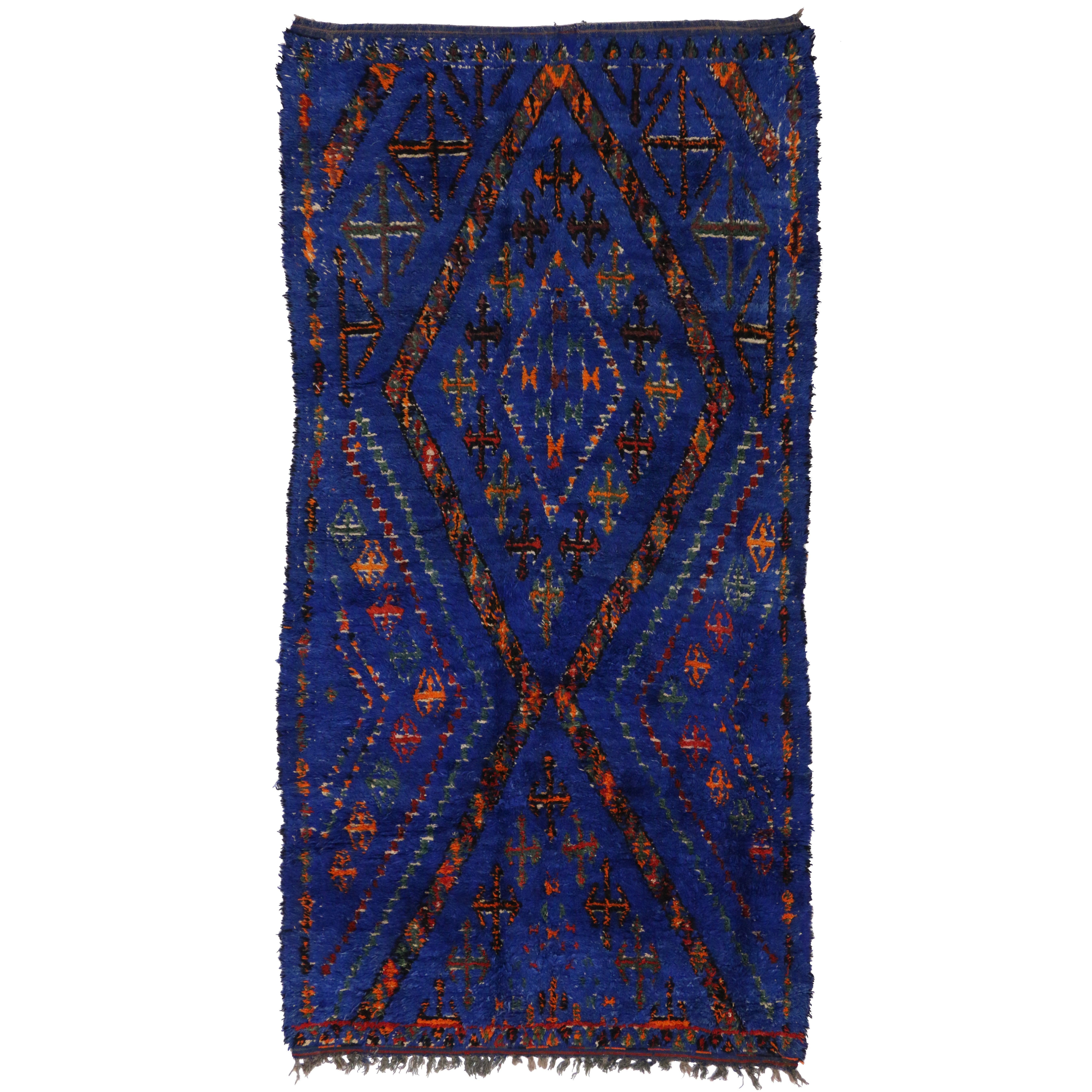 Cobalt Blue Moroccan Rug By Beni Ourain Rug With Tribal