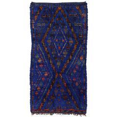 Vintage Beni Ourain Moroccan Rug, Cobalt Blue Berber Moroccan Tribal Rug