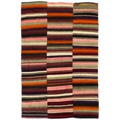 Banded Vintage Kilim Rug. Flatweave Wool Floor Covering