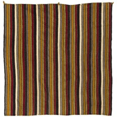Vintage Striped Kilim Rug. Flatweave Floor Covering. Handwoven. 100% Wool.