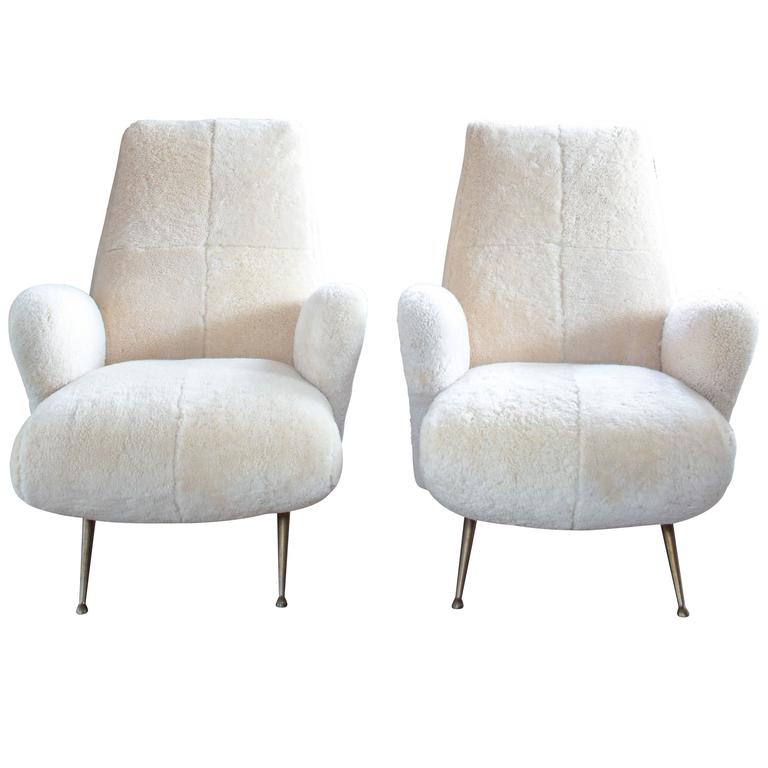Pair of Mid-Century Italian Armchairs in Shearling in the Style of Frattini 1