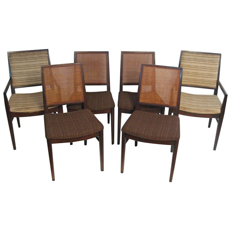Six John Stuart Modern Walnut and Caned Dining Chairs
