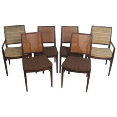 Six John Stuart Modern Walnut and Caned Dining Chairs