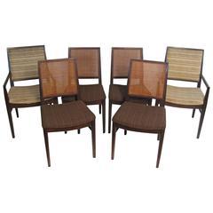 Superbe Six John Stuart Modern Walnut And Caned Dining Chairs