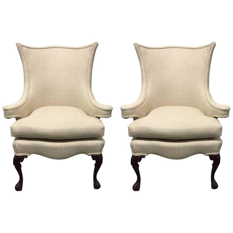 Pair of Queen Anne Style Wingback Chairs For Sale at 1stdibs