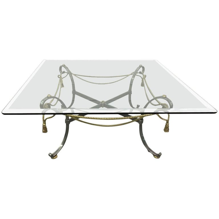 Polished Steel and Brass Coffee Table in the Style of Maison Jansen