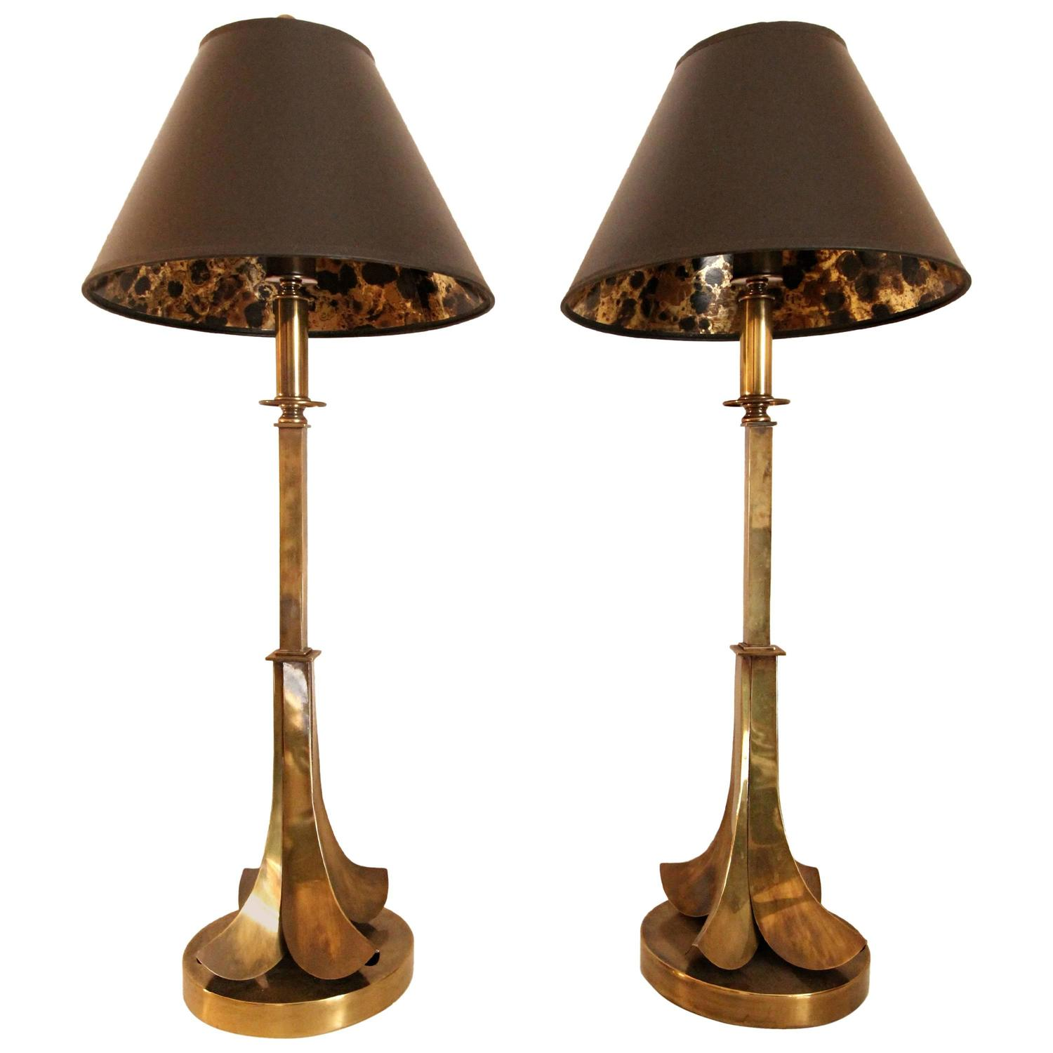 Original Lamps pair of all original aged brass table lampshart associates for