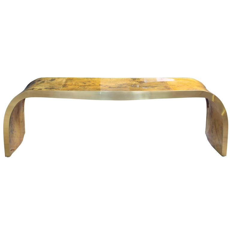 Concave Bench in Vintage Color Goatskin in the Style of Karl Springer For Sale
