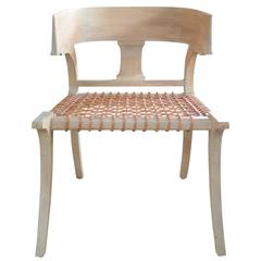 Klismos Chair in Teak with Leather Straps in the Style of Robsjohn-Gibbings