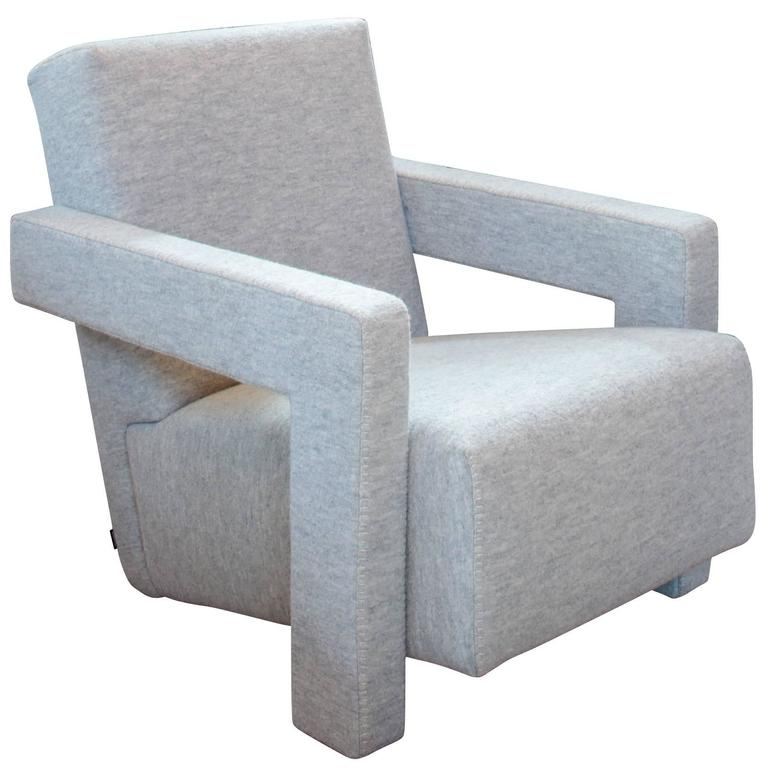 Utrecht Chair by Rietveld in Custom Boiled Wool by Cassina For Sale