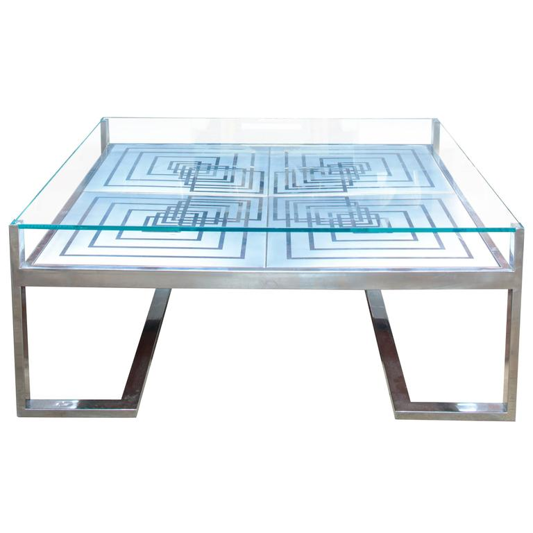 1970s Romeo Rega Coffee Table in Stainless Steel and Glass 1