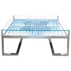 1970s Romeo Rega Coffee Table in Stainless Steel and Glass