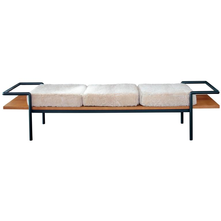 T904 Bench by Gastone Rinaldi for Poltrona Frau with Custom Shearling 1