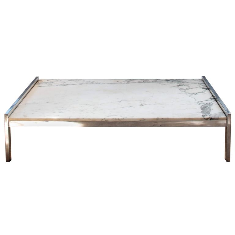 1970s Low French Coffee Table in Marble and Chrome in the Style of Arflex For Sale