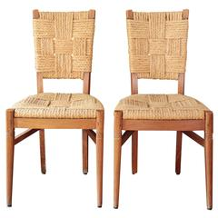 Pair of 1940s French Oak Occasional Chairs in the Style of Audoux Minet