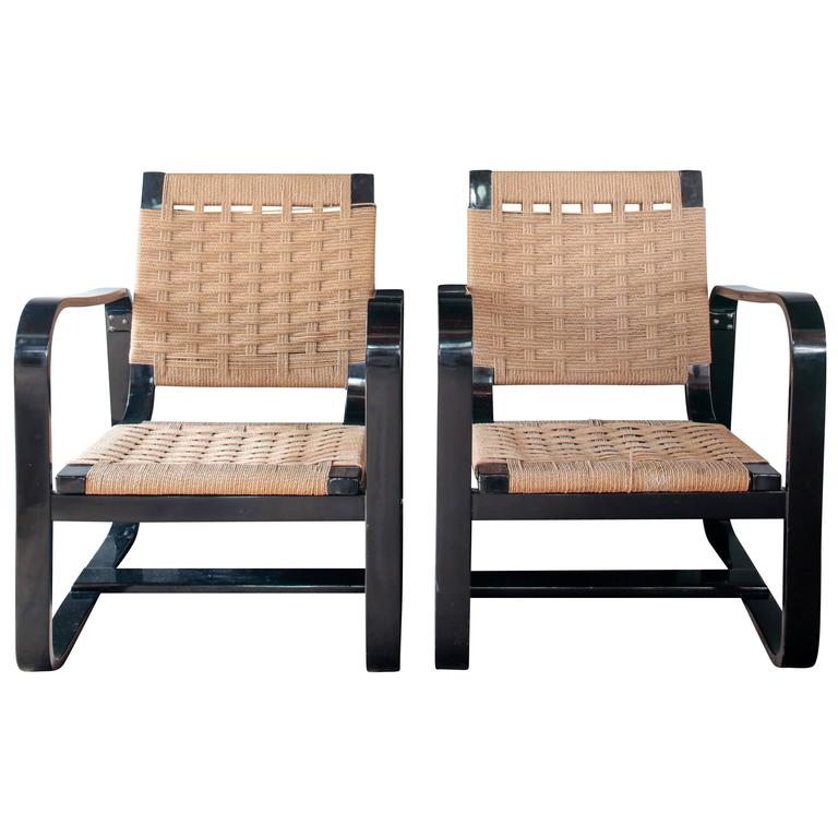 Pair of 1942 Giuseppe Pagano Chairs in Black Lacquer and Original Caning 1