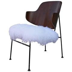 Sculptural Kofod Larsen Penguin Chair In Curly Fur