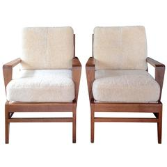 Pair of Midcentury Oak Chairs by Rene Gabriel with Shearling Cushions