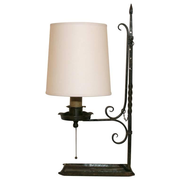 arts and crafts hand wrought iron table lamp for sale at 1stdibs. Black Bedroom Furniture Sets. Home Design Ideas